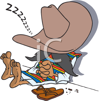 Royalty Free Clipart Image of a Man Having a Siesta