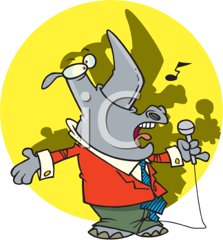 Royalty Free Clipart Image of a Singing Rhino