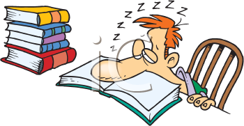 Royalty Free Clipart Image of a Man Asleep on a Book