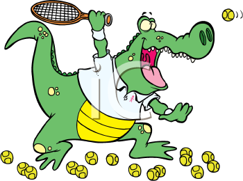 Royalty Free Clipart Image of an Alligator Playing Tennis