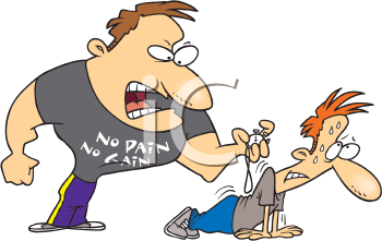 Royalty Free Clipart Image of a Man and a Trainer