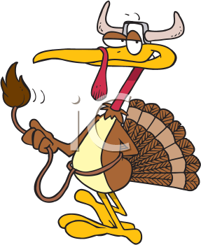 Royalty Free Clipart Image of a Turkey Posing as a Steer