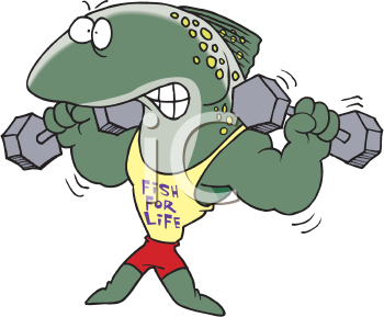 Royalty Free Clipart Image of a Fish With Weights
