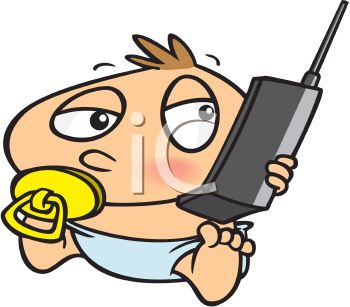 Royalty Free Clipart Image of a Baby Holding a Cellphone