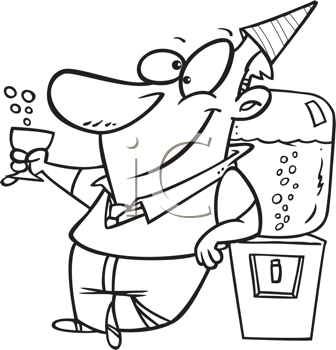 Royalty Free Clipart Image of a Man Celebrating at a Water Cooler