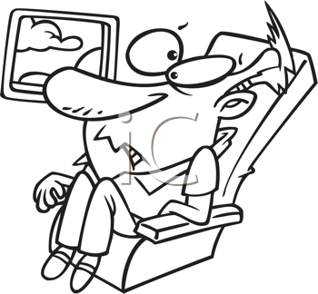 Royalty Free Clipart Image of a Man Confined in an Airplane Seat