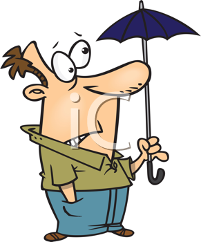 Royalty Free Clipart Image of a Man With a Tiny Umbrella