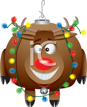 Royalty Free Clipart Image of a Rudolph Christmas Ornament