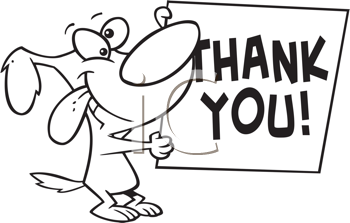 Royalty Free Clipart Image of a Dog WIth a Thank You Note