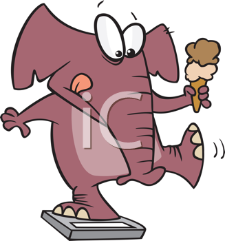 Royalty Free Clipart Image of an Elephant on a Bathroom Scale With an Ice Cream Cone