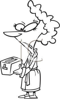 Royalty Free Clipart Image of a Woman With a Toaster