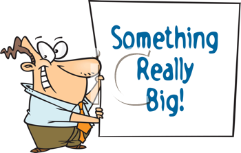 Royalty Free Clipart Image of a Guy Holding a Something Really Big Sign