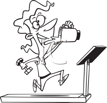 Royalty Free Clipart Image of a Woman Drinking From a Blender While on a Treadmill