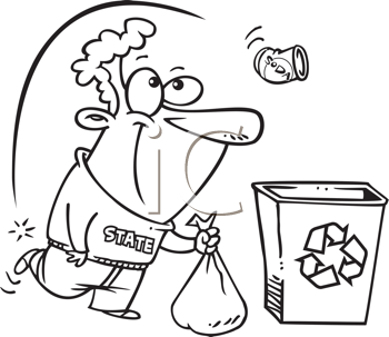 Royalty Free Clipart Image of a Guy Kicking a Tin Can Into a Recycling Container