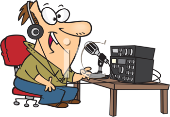 Royalty Free Clipart Image of a Guy Talking on a Ham Radio
