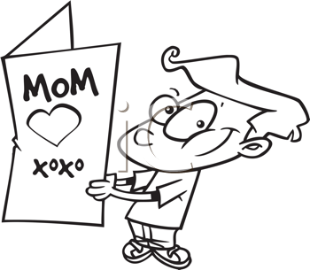 Royalty Free Clipart Image of a Boy With a Big Card For His Mother