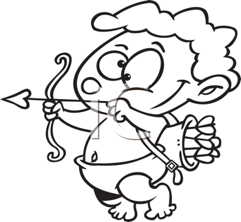Royalty Free Clipart Image of Cupid Shooting an Arrow