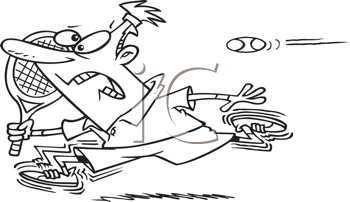 Royalty Free Clipart Image of a Tennis Player Running From the Ball