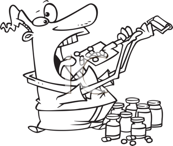 Royalty Free Clipart Image of a Guy Taking Lots of Pills