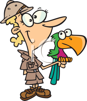 Royalty Free Clipart Image of a Zookeeper With a Parrot