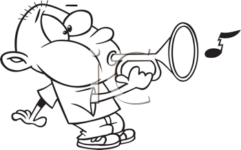 Royalty Free Clipart Image of a Guy Blowing a Bugle