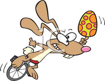 Royalty Free Clipart Image of a Rabbit on a Unicycle With an Egg