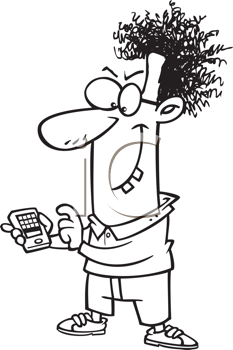 Royalty Free Clipart Image of a Nerd With a Cellphone