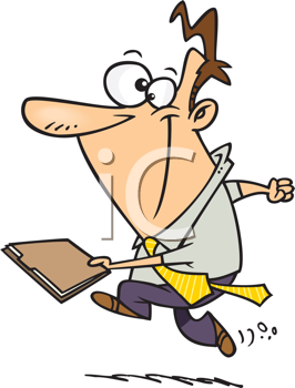Royalty Free Clipart Image of a Man Running With a Folder