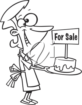 Royalty Free Clipart Image of a Woman With a Cake For Sale