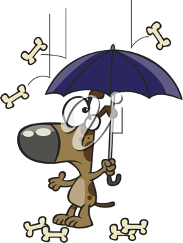 Royalty Free Clipart Image of a Dog With Bones Falling