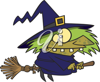 Royalty Free Photo of a Witch on a Broomstick