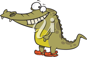 Royalty Free Clipart Image of a Crocodile Wearing Crocs