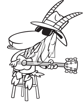 Royalty Free Clipart Image of a Goat Playing the Guitar