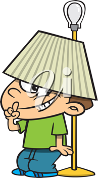 Royalty Free Clipart Image of a Boy Hiding