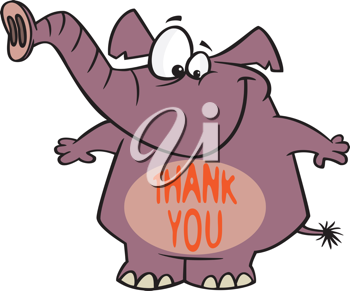 Royalty Free Clipart Image of a Thankful Elephant