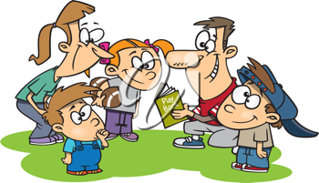 Royalty Free Clipart Image of a Family Huddling Around a Football Playbook