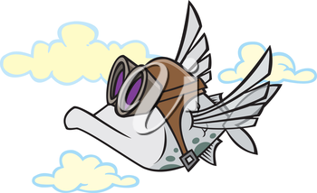 Royalty Free Clipart Image of a Flying Fish