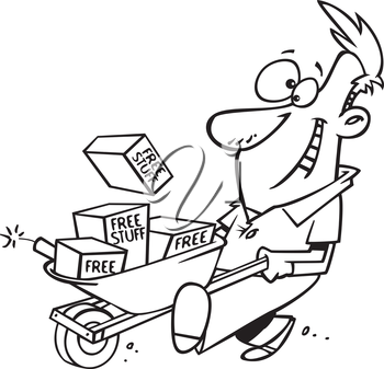 Royalty Free Clipart Image of a Man With a Wheelbarrow of Free Stuff and a Stick of Dynamite