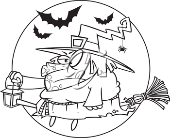 Royalty Free Clipart Image of a Grumpy Witch