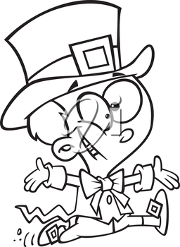 Royalty Free Clipart Image of a Kid Leprechaun