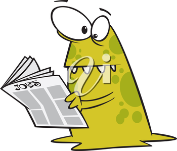 Royalty Free Clipart Image of a Monster Reading a Newspaper
