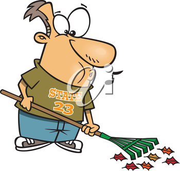 Royalty Free Clipart Image of a Man Raking Up Leaves