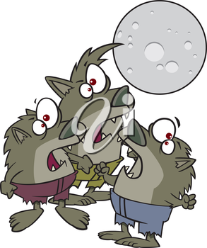 Royalty Free Clipart Image of a Group of Werewolves
