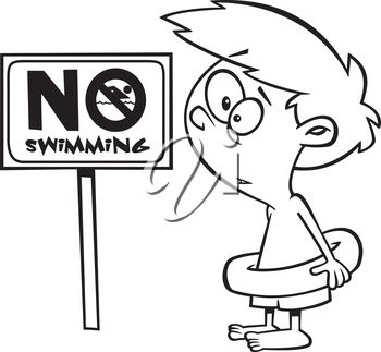 Royalty Free Clipart Image of a Boy Looking at a No Swimming Sign
