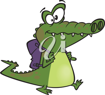 Royalty Free Clipart Image of a Gator With a Backpack