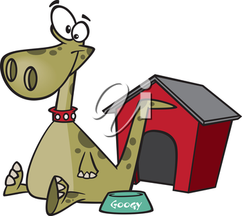 Royalty Free Clipart Image of a Pet Dinosaur