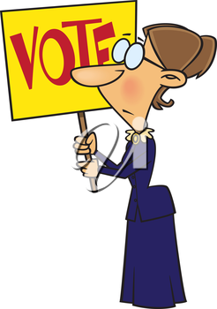 Royalty Free Clipart Image of a Woman Holding a Vote Sign