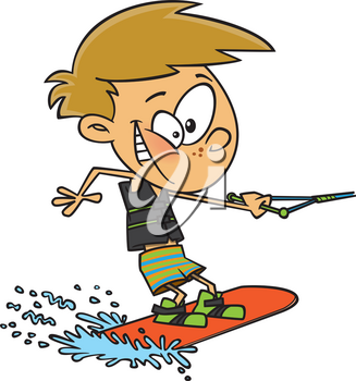 Royalty Free Clipart Image of a Boy on a Wakeboard