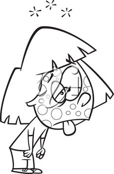 Royalty Free Clipart Image of a Sick girl