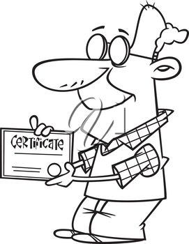Royalty Free Clipart Image of a Man with a Certificate